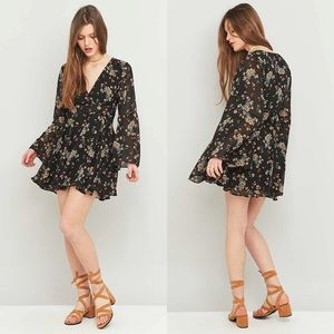 Free People Lilou Floral Bell Sleeve Dress